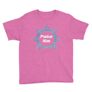 Praise Him with Tambourine Youth Short Sleeve T-Shirt, t-shirt - PureDesignTees