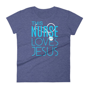 This Nurse Loves Jesus Women's short sleeve t-shirt-T-Shirt-PureDesignTees