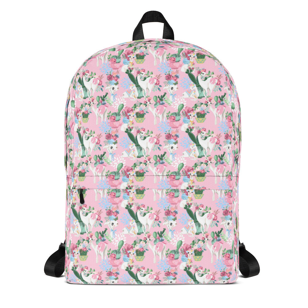 Adorable Llama Pattern in Pink Backpack, backpack - PureDesignTees