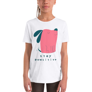 Stay Pawsitive Youth Short Sleeve T-Shirt-youth t-shirt-PureDesignTees