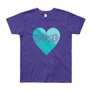 Love Heart Youth Short Sleeve T-Shirt-T-Shirt-PureDesignTees