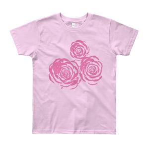 Pink Roses Drawing Youth Short Sleeve T-Shirt-T-Shirt-PureDesignTees