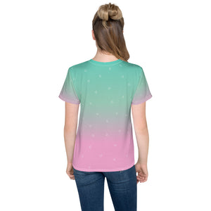 Green and Pink Gradient with Flamingo Youth T-Shirt-all over print youth t-shirt-PureDesignTees