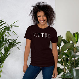 Virtue White Unisex Short Sleeve Jersey T-Shirt with Tear Away Label-t-shirt-PureDesignTees