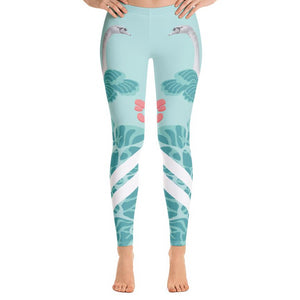 Lovely Swan Leggings-leggings-PureDesignTees