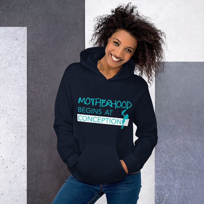 Motherhood Begins at Conception Unisex Hoodie-Hoodie-PureDesignTees