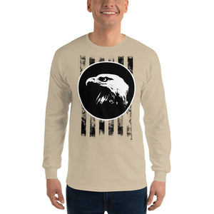 Bald Eagle and Stripes Long Sleeve T-Shirt-Long sleeve T-shirt-PureDesignTees