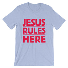 Load image into Gallery viewer, Jesus Rules Here Unisex short sleeve t-shirt-T-Shirt-PureDesignTees