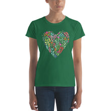 Load image into Gallery viewer, Watercolor Floral Heart Women's short sleeve t-shirt-T-shirt-PureDesignTees
