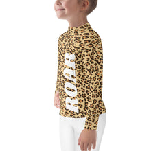 Load image into Gallery viewer, Leopard Pattern Roar Kids Rash Guard-Kids Rash Guard-PureDesignTees