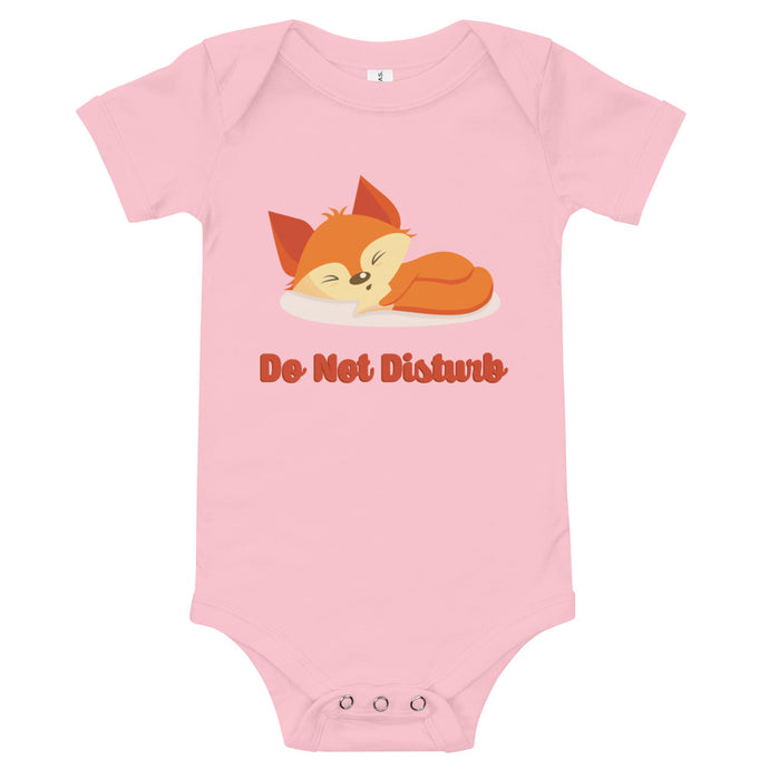 Sleeping Fox Do Not Disturb Baby Bodysuit-Baby Bodysuit-PureDesignTees