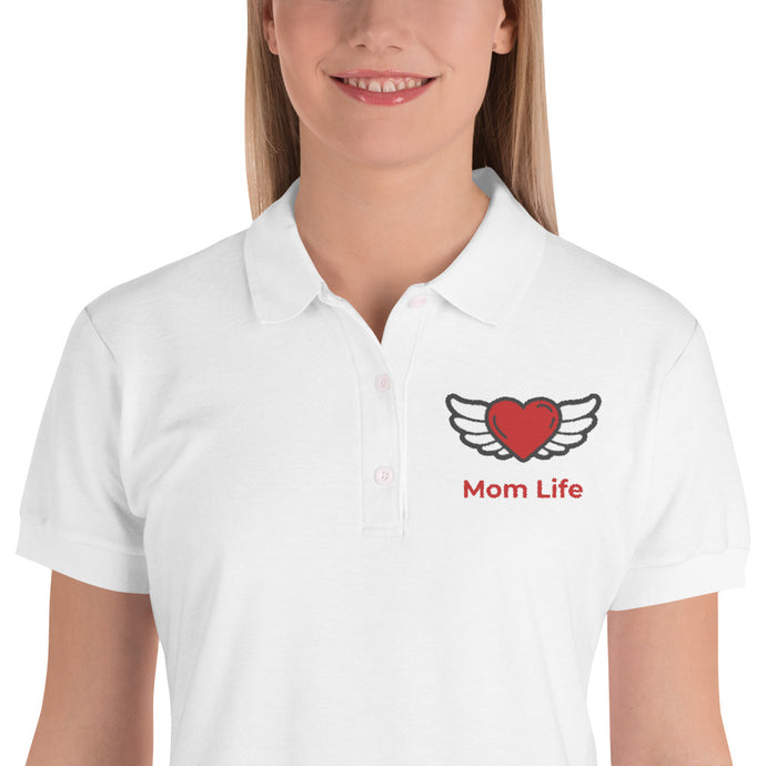 Mom Life Angel Heart Embroidered Women's Polo Shirt-Embroidered Polo-PureDesignTees