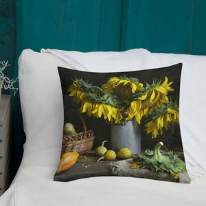 Sunflower Still Life Premium Pillow-Premium Throw Pillow-PureDesignTees