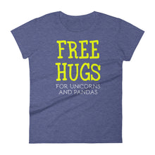Load image into Gallery viewer, Free Hugs For Unicorns and Pandas Women's short sleeve t-shirt-t-shirt-PureDesignTees