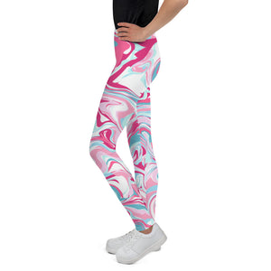 Marble pink Youth Leggings-Youth Leggings-PureDesignTees