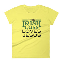 Load image into Gallery viewer, This Irish Lass Loves Jesus Women's short sleeve t-shirt-T-Shirt-PureDesignTees