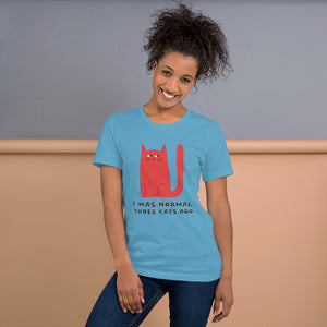 I Was Normal 3 Cats Ago Short-Sleeve Unisex T-Shirt-T-Shirt-PureDesignTees