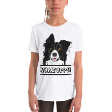 Load image into Gallery viewer, Dog Says Whazupp!! Youth Short Sleeve T-Shirt-youth t-shirt-PureDesignTees