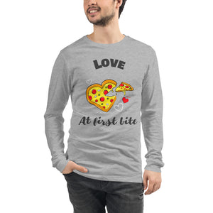 Love at First Bite for Pizza Lovers Unisex Long Sleeve Tee-long sleeve t-shirt-PureDesignTees