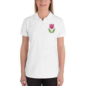 Tulip Embroidered Women's Polo Shirt, Polo - PureDesignTees