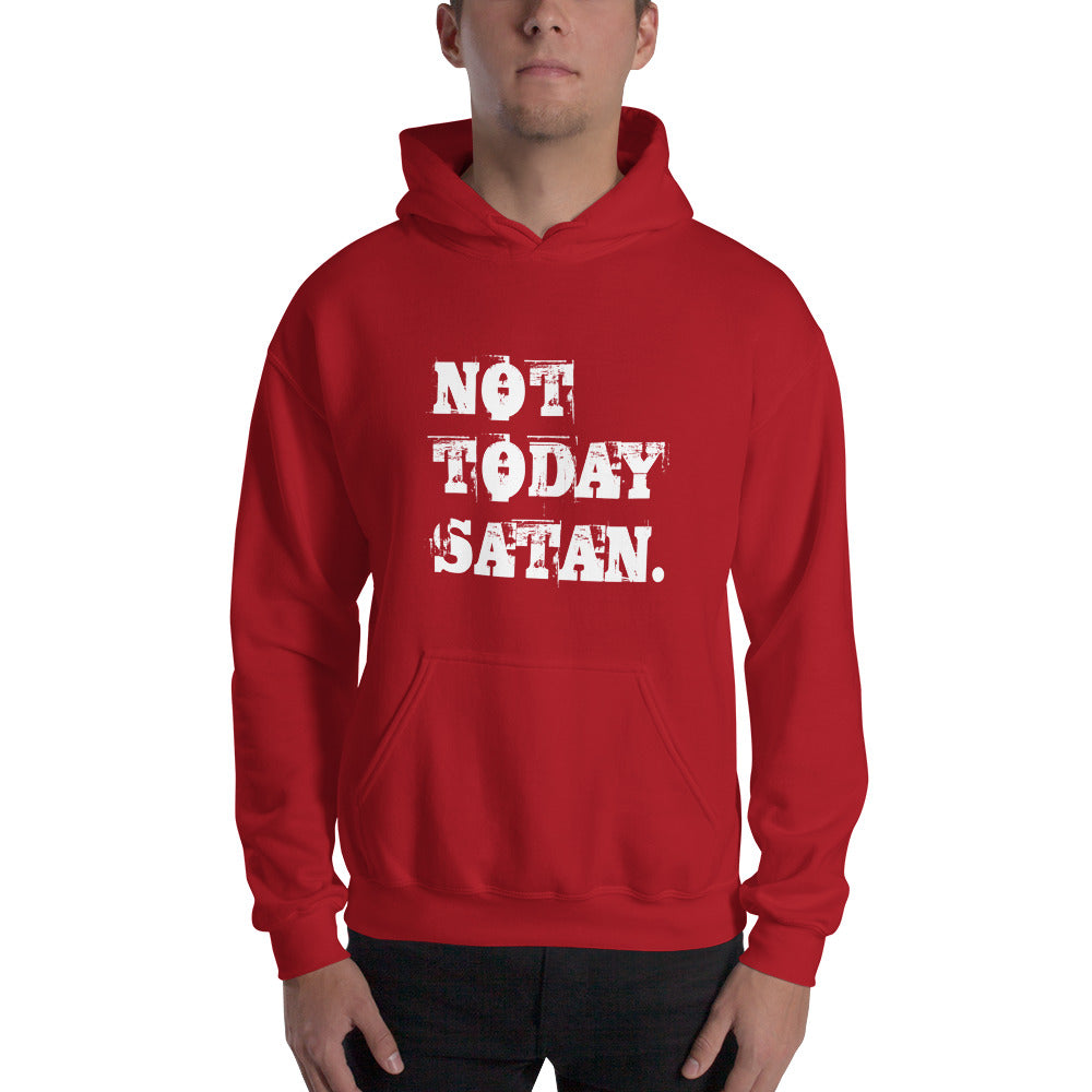 Not Today Satan Grunge Pullover Hooded Sweatshirt