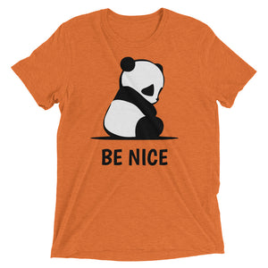 Super Cute Panda Be Nice Short sleeve Tri-blend t-shirt-T-Shirt-PureDesignTees