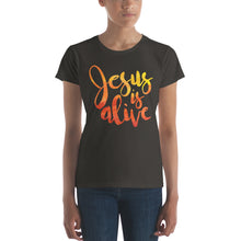 Load image into Gallery viewer, Jesus is Alive Women's short sleeve t-shirt-T-Shirt-PureDesignTees