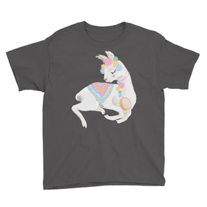 Adorable Decorated Llama Youth Short Sleeve T-Shirt-PureDesignTees