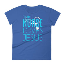 Load image into Gallery viewer, This Nurse Loves Jesus Women's short sleeve t-shirt, T-Shirt - PureDesignTees