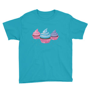 3 Yummy Cupcakes Youth Short Sleeve T-Shirt,  - PureDesignTees