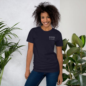 God is Good Embroidered Short-Sleeve Unisex T-Shirt-Embroidered T-Shirt-PureDesignTees
