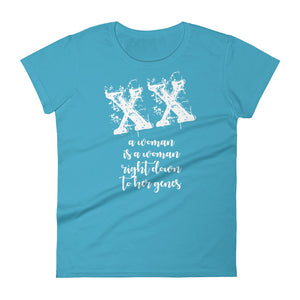 XX A Woman is a Woman Right Down to Her Genes Women's short sleeve t-shirt-T-Shirt-PureDesignTees
