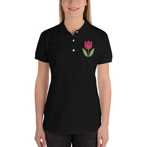 Tulip Embroidered Women's Polo Shirt-Polo-PureDesignTees