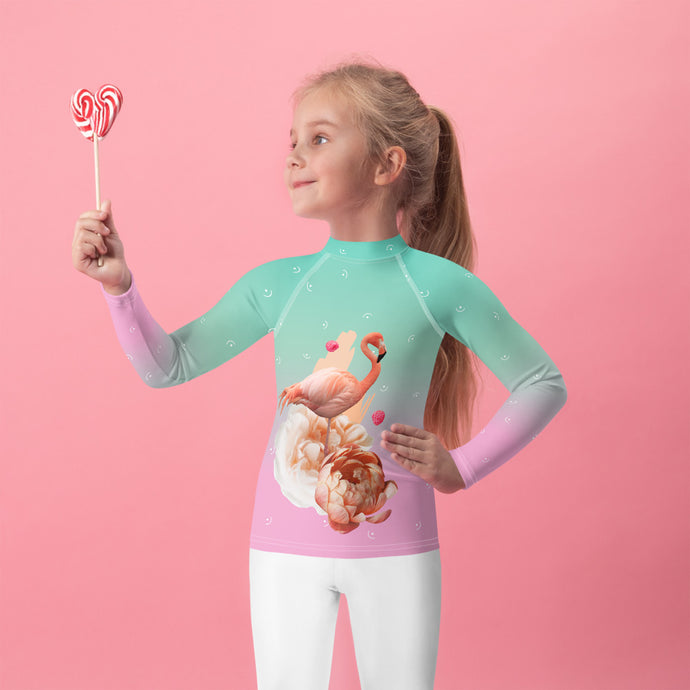 Green Pink Gradient with Flamingo Kids Rash Guard-Kids Rash Guard-PureDesignTees
