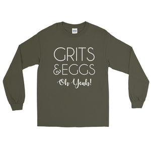 Grits & Eggs Oh Yeah! Long Sleeve T-Shirt-Long sleeve t-shirt-PureDesignTees