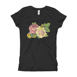 Vintage Flowers Girl's T-Shirt-T-Shirt-PureDesignTees