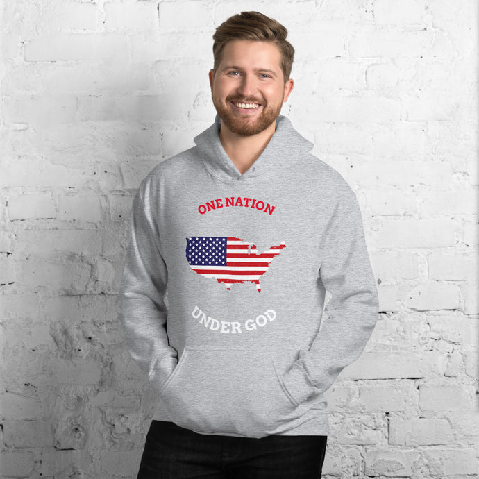 One Nation Under God Hooded Sweatshirt-Hoodie-PureDesignTees