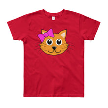 Load image into Gallery viewer, Cute Cat with Bow Youth Short Sleeve T-Shirt-T-Shirt-PureDesignTees