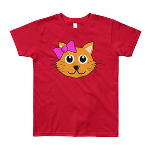 Cute Cat with Bow Youth Short Sleeve T-Shirt-T-Shirt-PureDesignTees