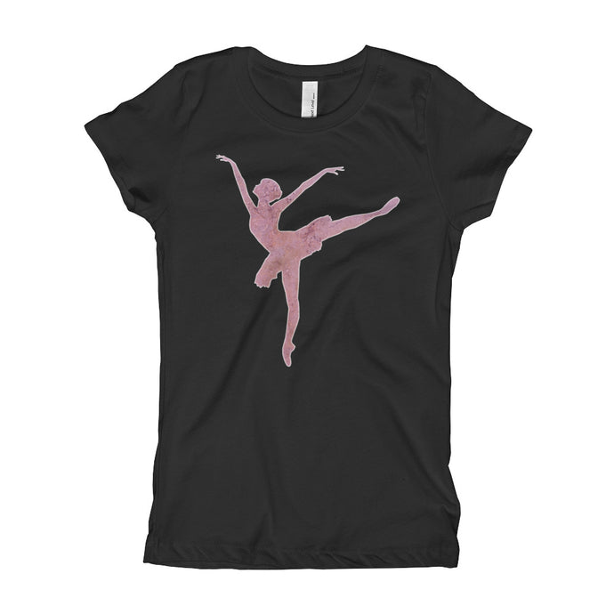 Ballerina with Texture Girl's T-Shirt-PureDesignTees