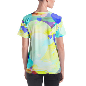 Bright Summer Hearts All-Over Print Women's Crew Neck T-Shirt-All-over Print T-shirt-PureDesignTees