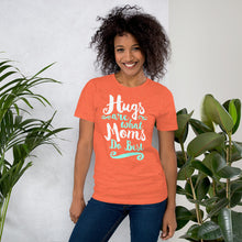 Load image into Gallery viewer, Hugs are What Moms Do Best Unisex Short Sleeve Jersey T-Shirt with Tear Away Label-t-shirt-PureDesignTees