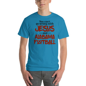 You Can't Go Wrong with Jesus and Alabama Football Short-Sleeve T-Shirt-t-shirt-PureDesignTees
