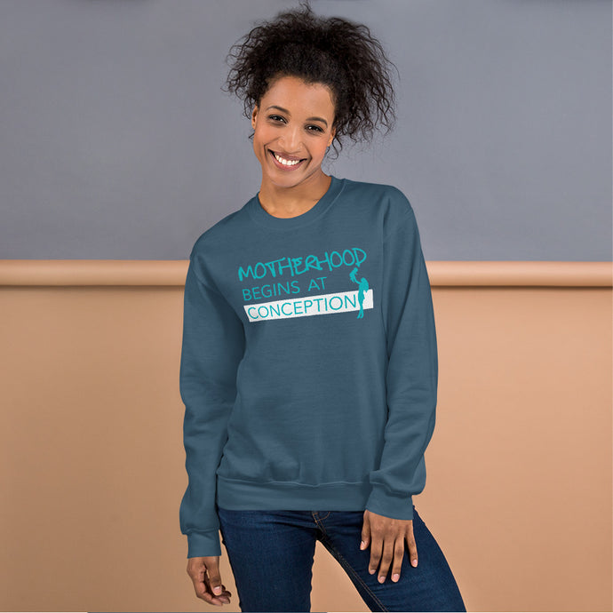Motherhood Begins at Conception Unisex Sweatshirt-Sweatshirt-PureDesignTees