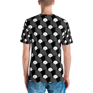 Vinyl Record Black and White Pattern Men's T-shirt-all over print t-shirt-PureDesignTees