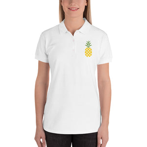 Lovely Pineapple Embroidered Women's Polo Shirt-Polo-PureDesignTees