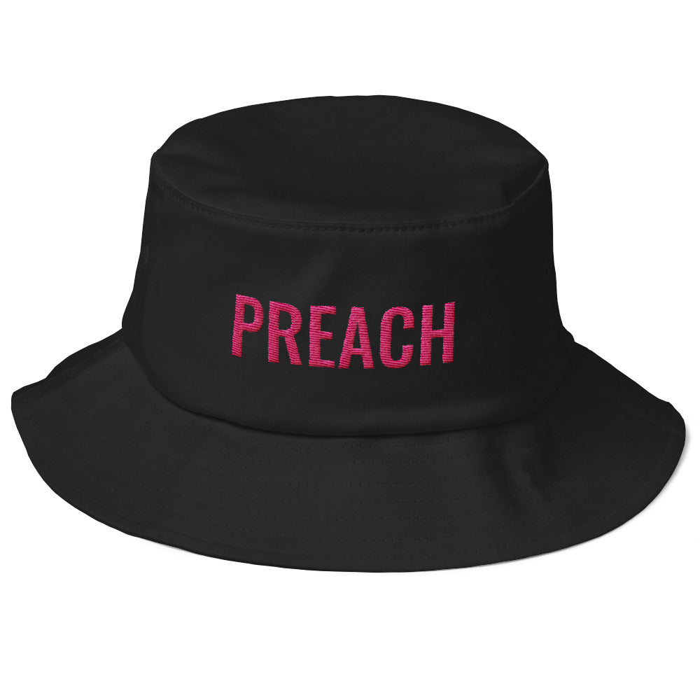 Preach Embroidered Old School Bucket Hat-Embroidered Bucket hat-PureDesignTees