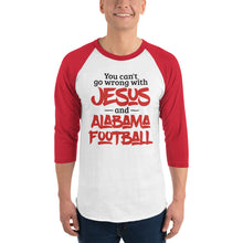 Load image into Gallery viewer, You Can't Go Wrong with Jesus and Alabama Football 3/4 sleeve raglan shirt, raglan tee - PureDesignTees