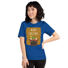 Load image into Gallery viewer, Meowy Christmas Short-Sleeve Unisex T-Shirt-t-shirt-PureDesignTees
