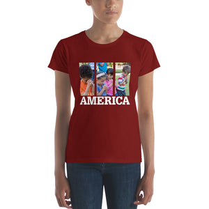 This is America - Children Praying Women's short sleeve t-shirt, T-Shirt - PureDesignTees